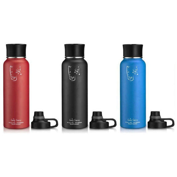 Swig Savvy Stainless Steel Wide Mouth Insulated Water Bottle 40oz - 2 Pack-Black/Red-