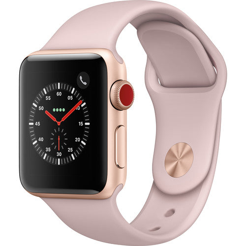 Daily Steals-Apple Watch Series 3 38mm with GPS + Cellular (Gold Alum Case & Pink Sand Sport Band)-Wearables-