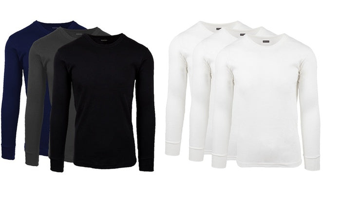 [3-Pack] Andrew Scott Men's Premium Cotton Thermal Shirt-Daily Steals