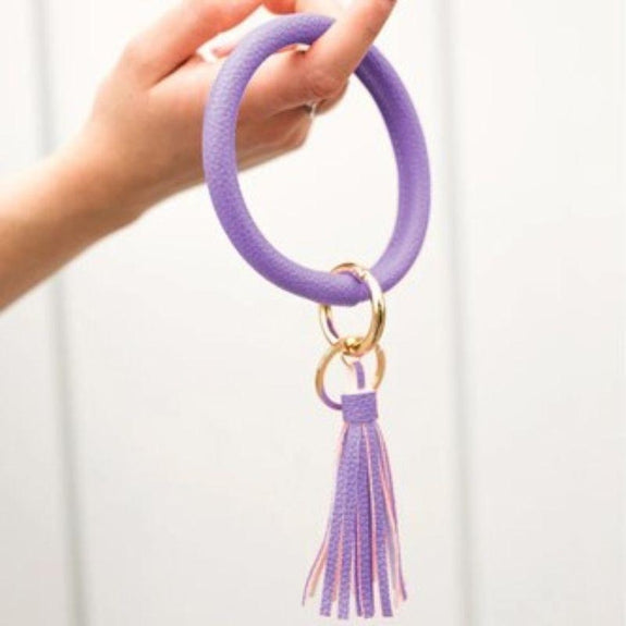 Tassel Bracelet with Removable Clasp Key Ring-Purple-