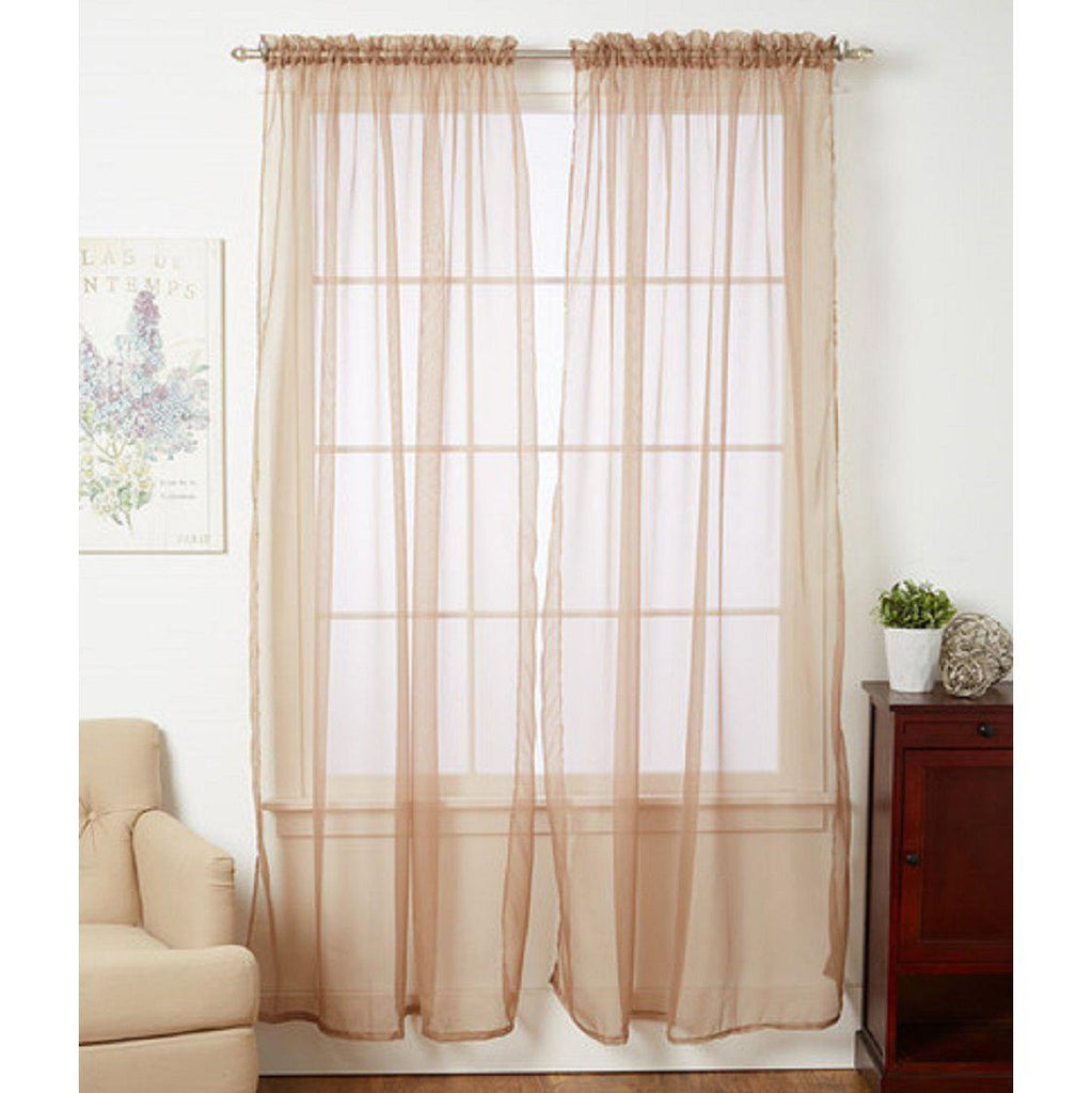 Linda Sheer Voile Curtain Panels - Various Colors - 4-Pack-TAUPE-Daily Steals