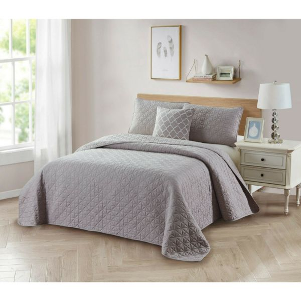 Bibb Home Ensemble de courtepointe réversible unie 4 pièces-Taupe-Full / Queen-Daily Steals