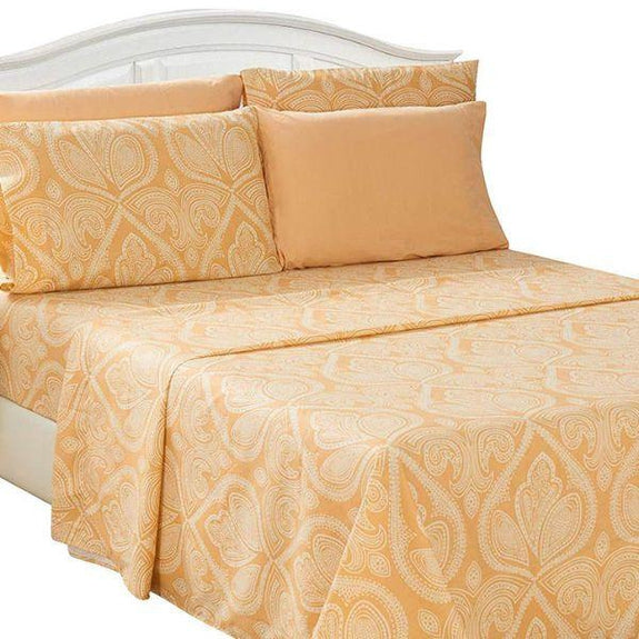 Paisley Printed Deep Pocket Bed Sheet Set - 6 Piece-TAUPE-Full-Daily Steals