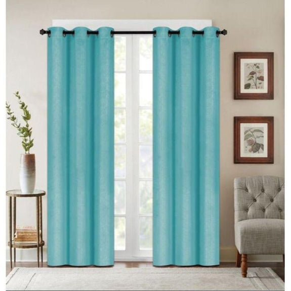 "Embossed Faux Silk 76""x63"" or 76""x84"" Grommet Window Panel Pair-TEAL-76'' X 63''-Daily Steals"
