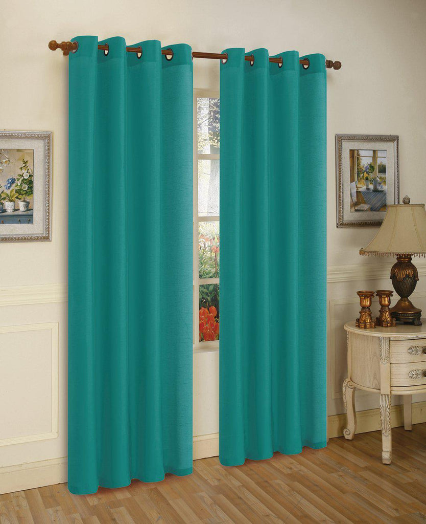 Mira Faux Silk Curtains with Bronze Grommets - 3 Panels-Teal-Daily Steals