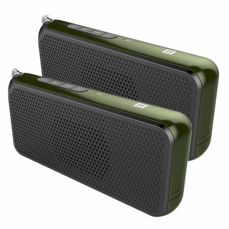 Tech Niche OV-C3 Hi-Fi NFC Bluetooth Speaker with DRC Technology - 2 Pack-Green-