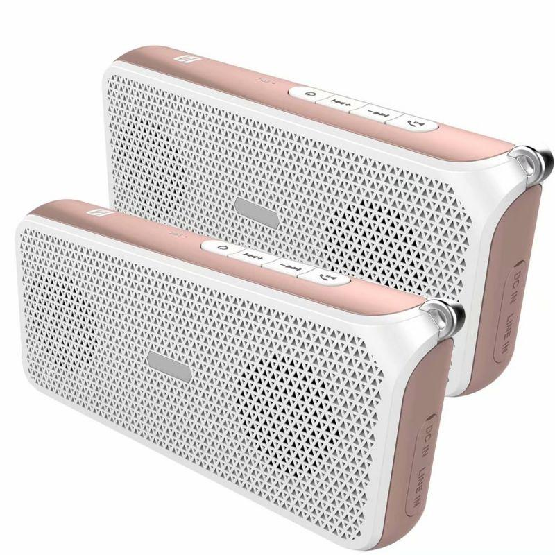 Tech Niche OV-C3 Hi-Fi NFC Bluetooth Speaker with DRC Technology - 2 Pack-Pink-