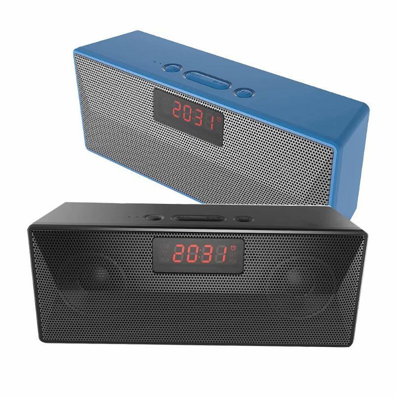 Tech Niche TB-BC2 Bluetooth Speaker and Power Bank with FM Radio and Alarm Clock - 2 Pack-Black/Blue-