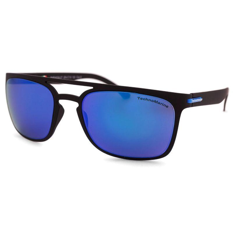 Technomarine Manta Ray TMEW006 Rectangular Frame Mirrored Lens Sunglasses-Blue Lens / Black Frame-Daily Steals