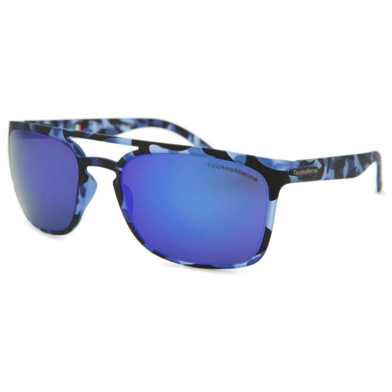 Technomarine Manta Ray TMEW006 Rectangular Frame Mirrored Lens Sunglasses-Blue Lens / Blue camouflage Frame-Daily Steals