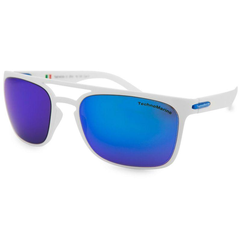 Technomarine Manta Ray TMEW006 Rectangular Frame Mirrored Lens Sunglasses-Blue Lens / Translucent Frame-Daily Steals