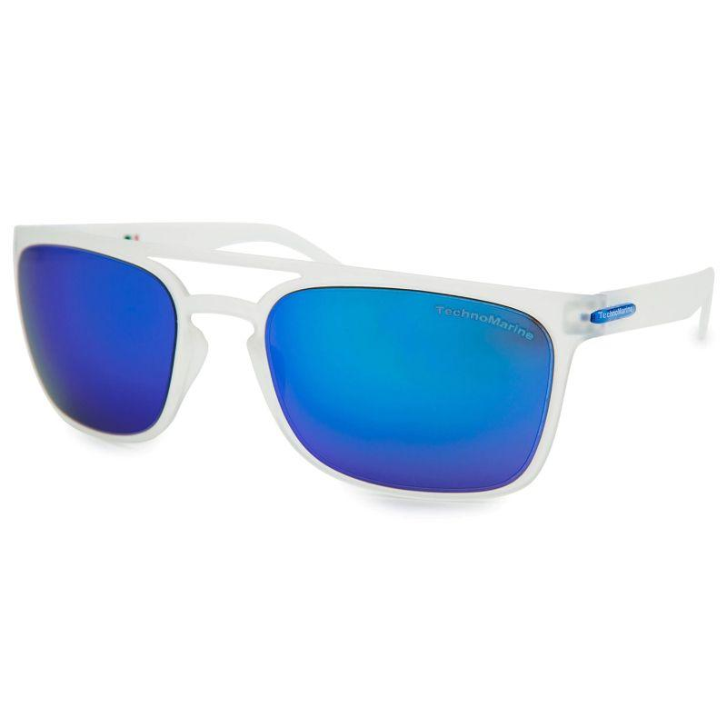 Technomarine Manta Ray TMEW006 Rectangular Frame Mirrored Lens Sunglasses-Dark Blue Lens / Translucent Frame-Daily Steals