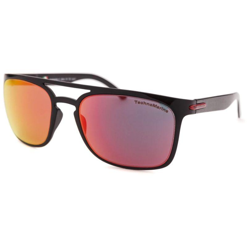 Technomarine Manta Ray TMEW006 Rectangular Frame Mirrored Lens Sunglasses-Orange Lens / Black Frame-Daily Steals