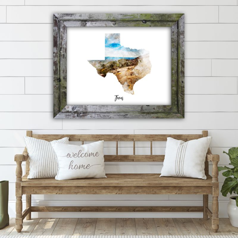 "Texas Watercolor Map Print - Unframed Art Print-14""x11""-Horizontal/Landscape-Daily Steals"