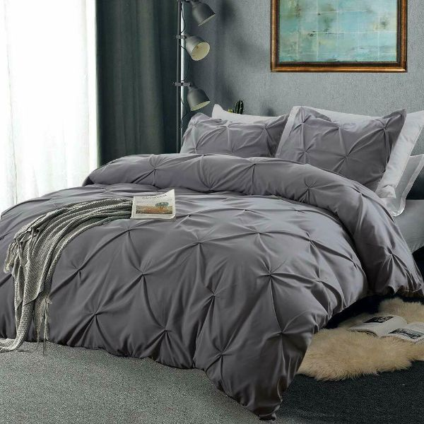 Laura's Lace 3 Piece Pintuck Pinch Pleated Duvet Cover - Zipper Closure-Grey-Queen-Daily Steals