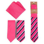 Three-Piece Men's Fashion Set - Two Skinny Ties and Pocket Square-Dark Pink-Daily Steals