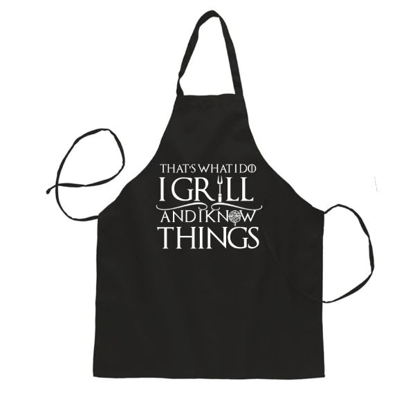 """That's What I Do I Grill and I Know Things"" Funny Grillin Apron-Daily Steals"