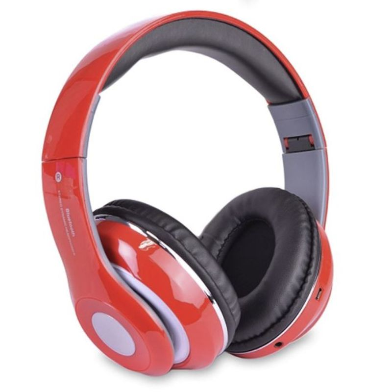 Bluetooth Wireless Headphones with Built In FM Tuner, Memory Card Slot and Mic-Red-Daily Steals