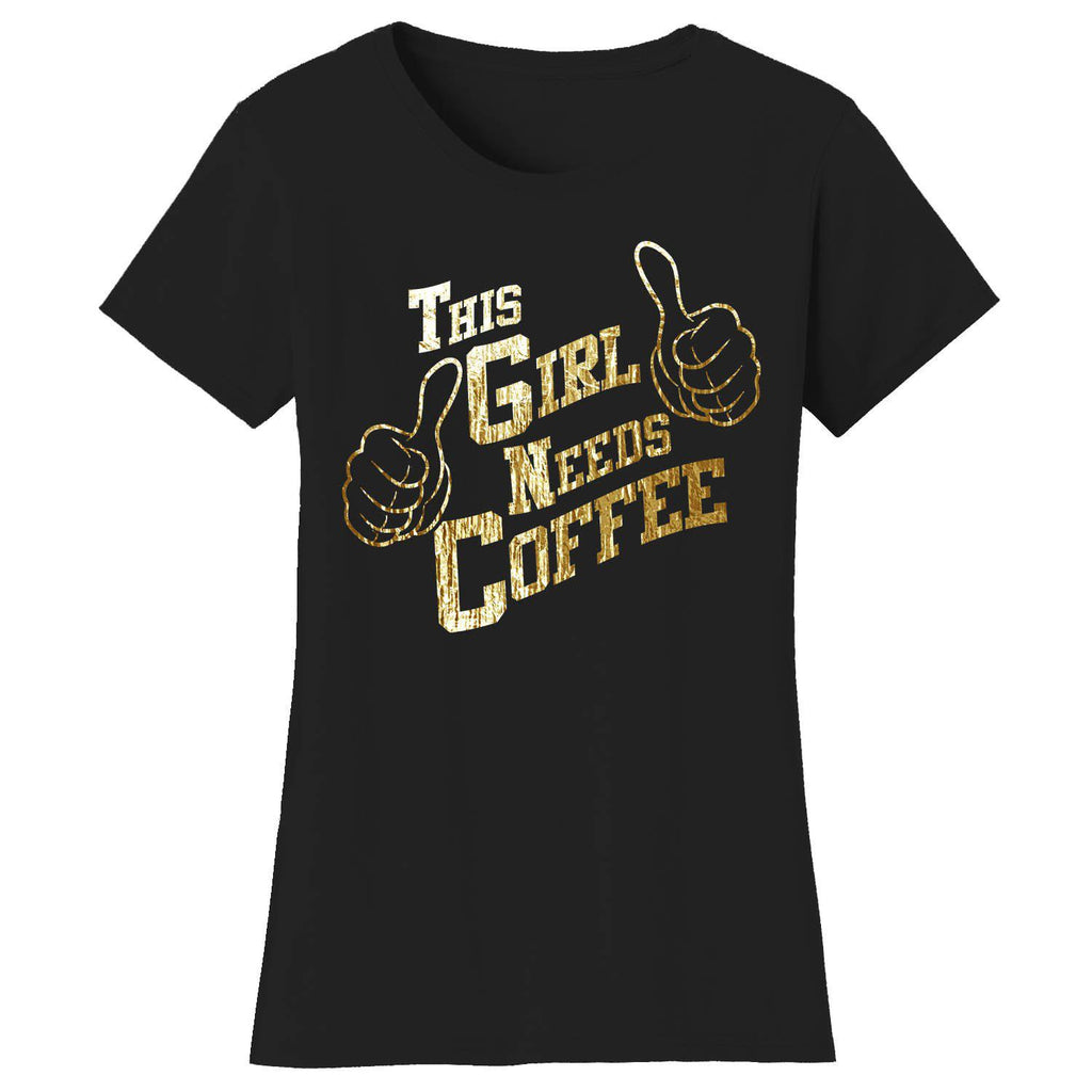 Women's Coffee Themed Humor T-Shirts-2X-Large-The Girl Needs Coffee - Navy/Gold-Daily Steals