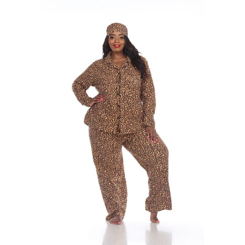 Three-Piece Pajama Set-Brown Cheetah-1X-Daily Steals