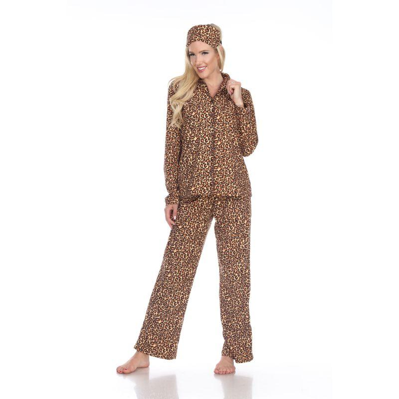 Three-Piece Pajama Set-Brown Cheetah-M-Daily Steals