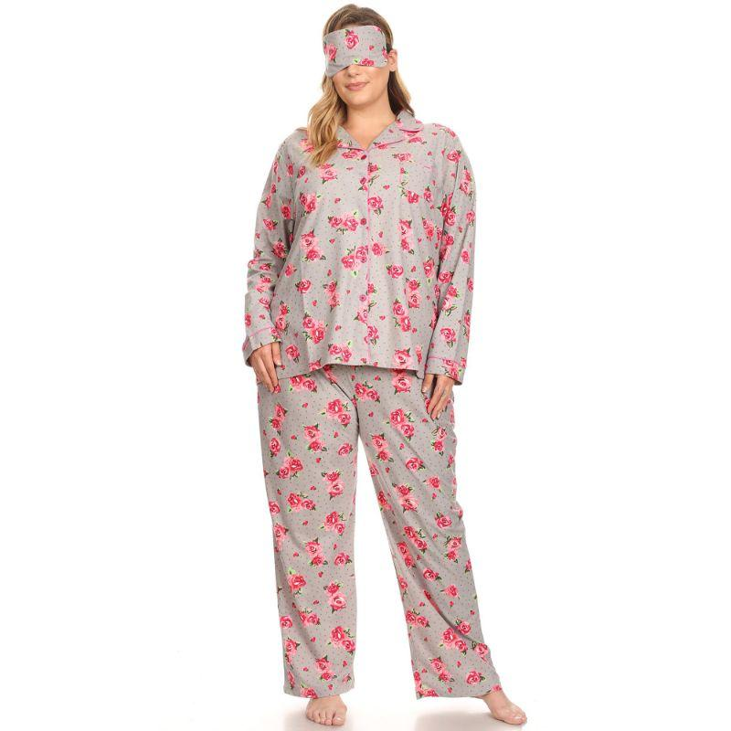 Three-Piece Pajama Set-Grey Rose-1X-Daily Steals
