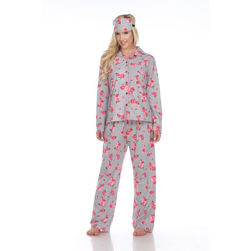Three-Piece Pajama Set-Grey Rose-M-Daily Steals