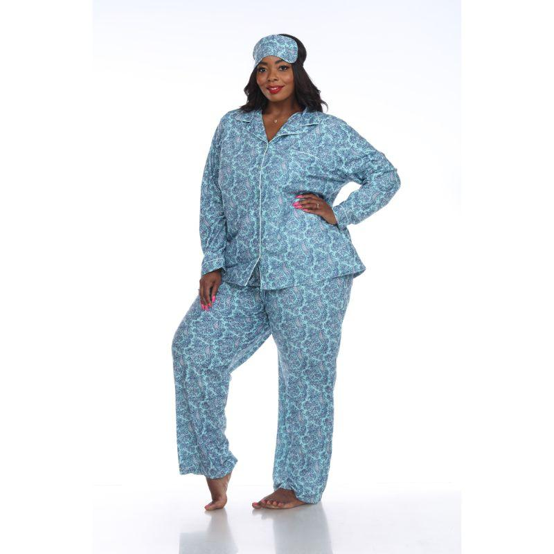 Three-Piece Pajama Set-Mint Paisley-4X-Daily Steals