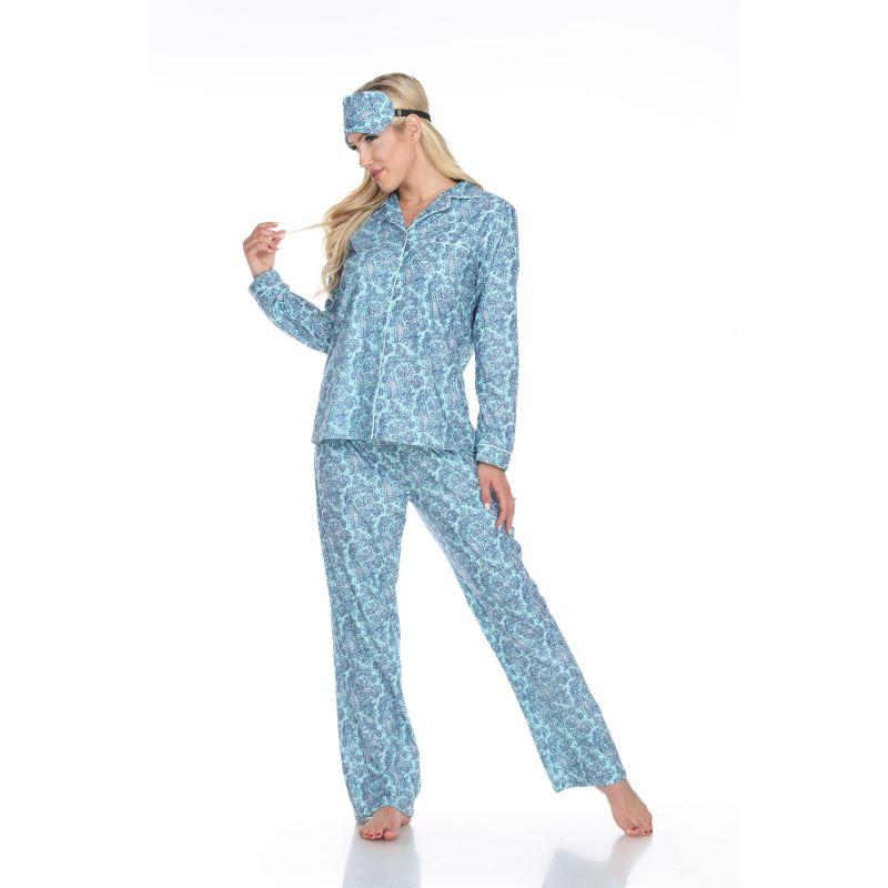 Three-Piece Pajama Set-Mint Paisley-M-Daily Steals