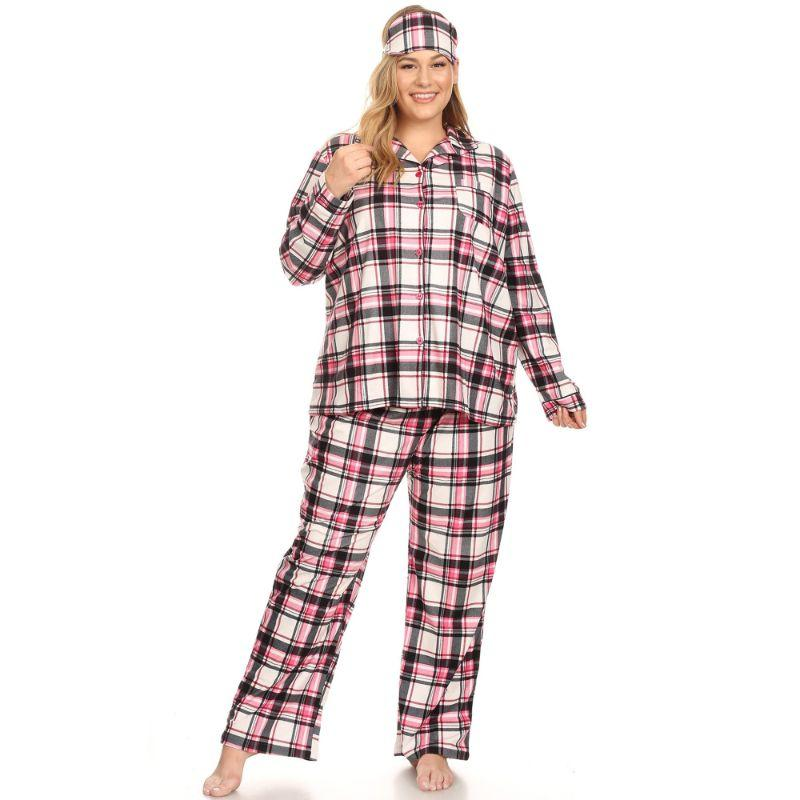 Three-Piece Pajama Set-Pink Plaid-2X-Daily Steals
