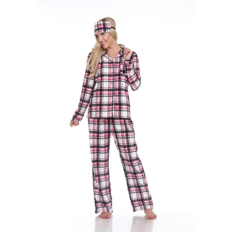 Three-Piece Pajama Set-Pink Plaid-S-Daily Steals