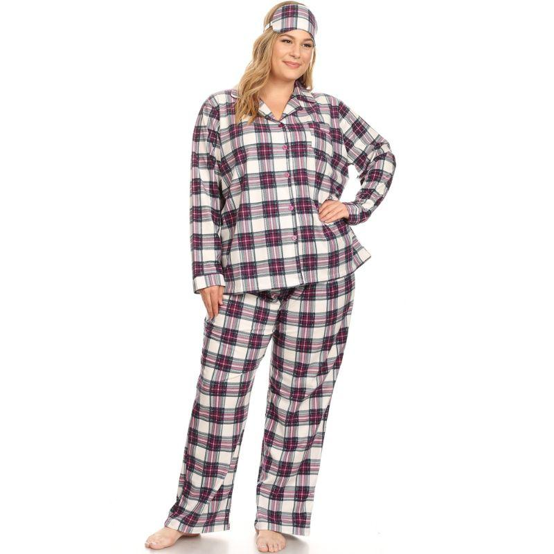 Three-Piece Pajama Set-Purple/White-2X-Daily Steals