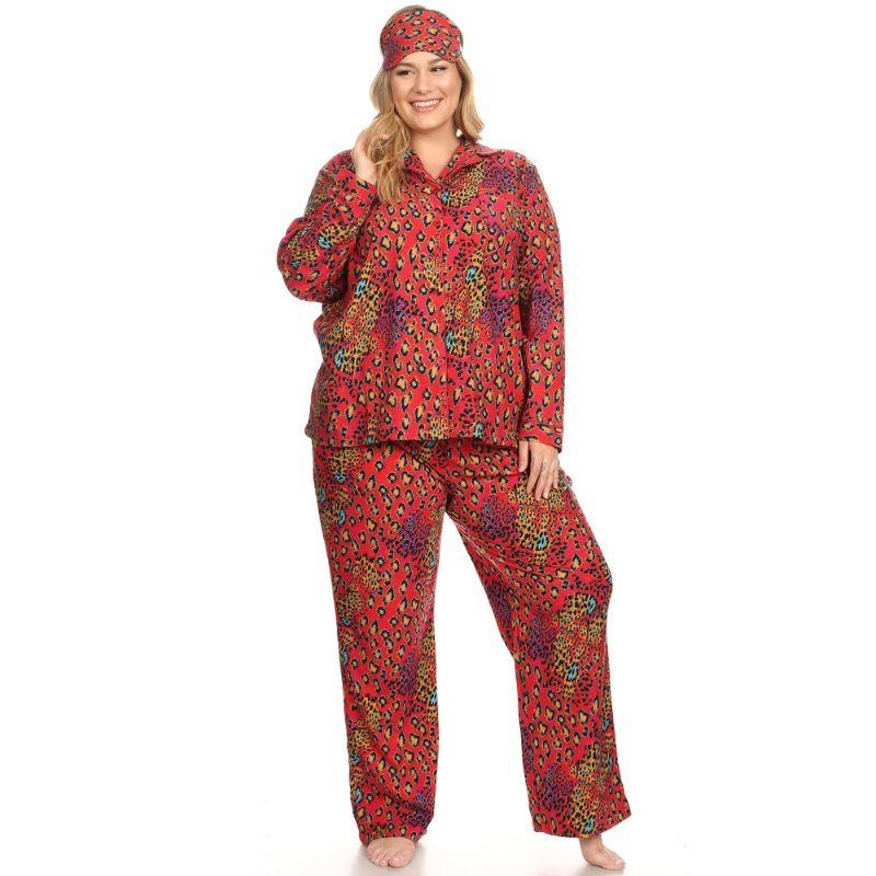 Three-Piece Pajama Set-Red Leopard-1X-Daily Steals