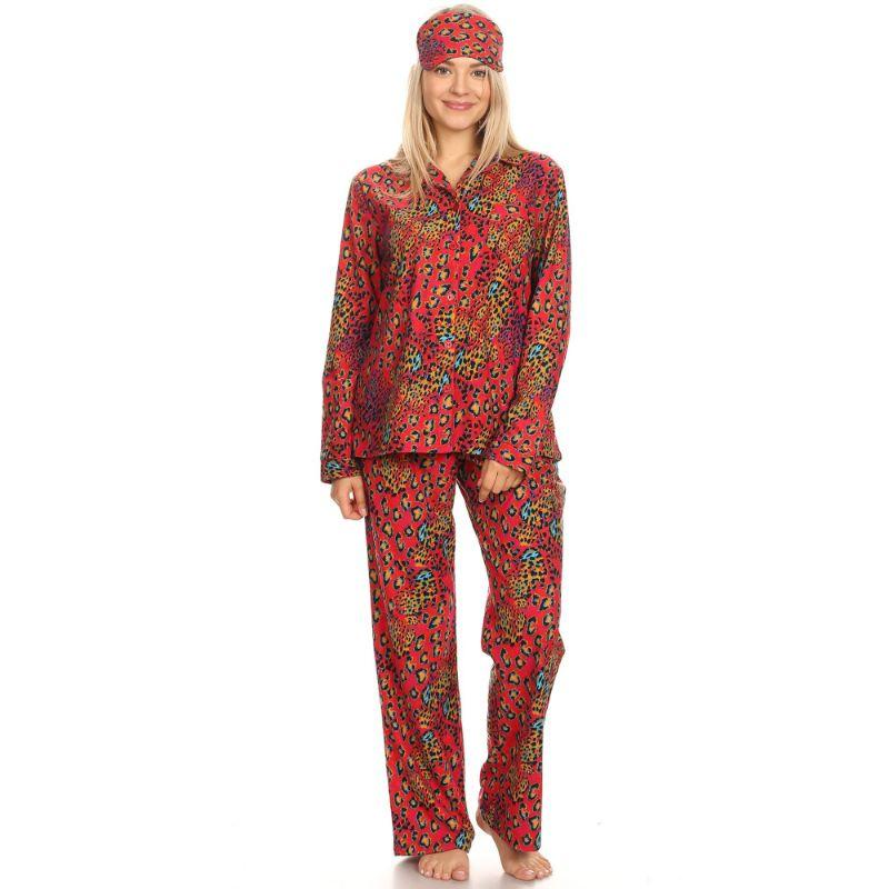 Three-Piece Pajama Set-Red Leopard-XL-Daily Steals
