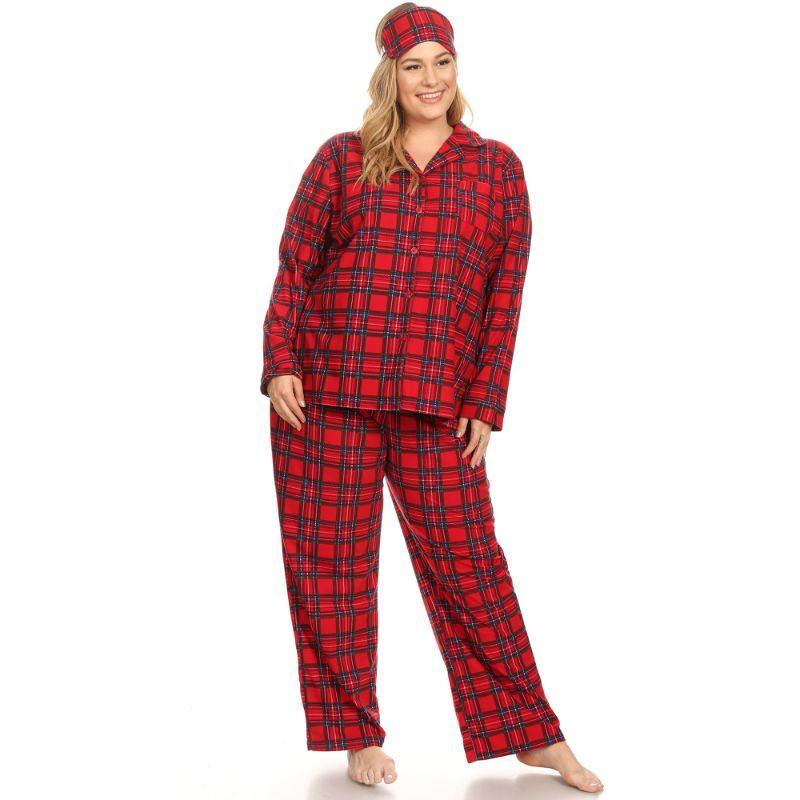 Three-Piece Pajama Set-Red Plaid-1X-Daily Steals