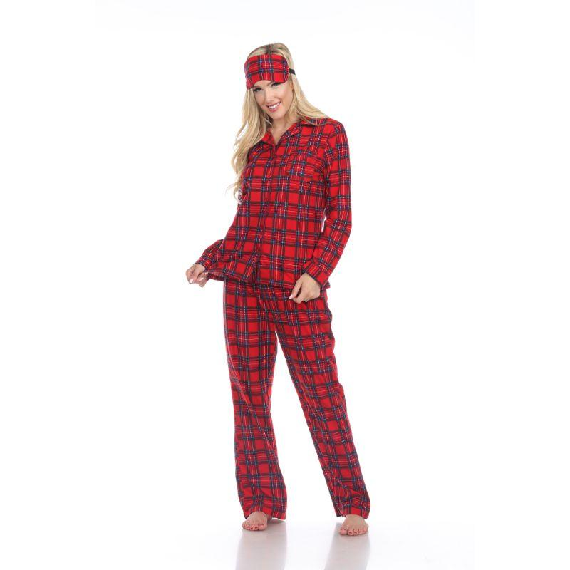 Three-Piece Pajama Set-Red Plaid-M-Daily Steals