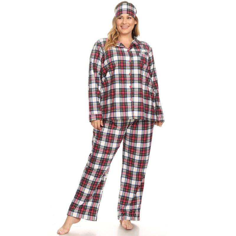 Three-Piece Pajama Set-Red/White-1X-Daily Steals