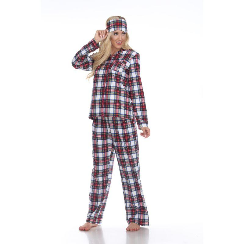 Three-Piece Pajama Set-Red/White-XL-Daily Steals