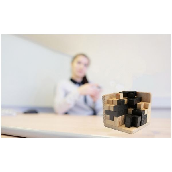 Daily Steals-Brain Teaser IQ Game Tetris Cube with Wooden 3D Puzzles - 54-Piece-Hobby and Toys-Brown-