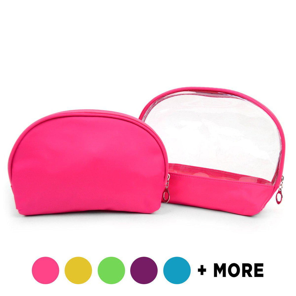 Ladies Clear and Solid Color Make Up, Cosmetics and Toiletry Bags - 2 Piece Set-Fuschia-Daily Steals