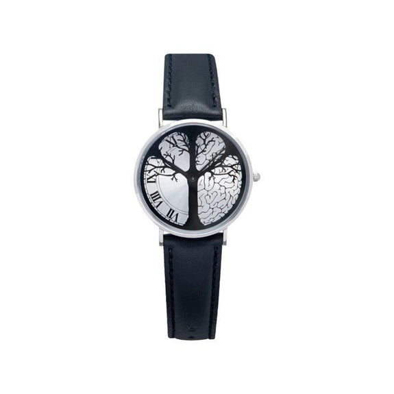 """Timeless"" Time-Peace Watch-Silver / Black-36mm-"