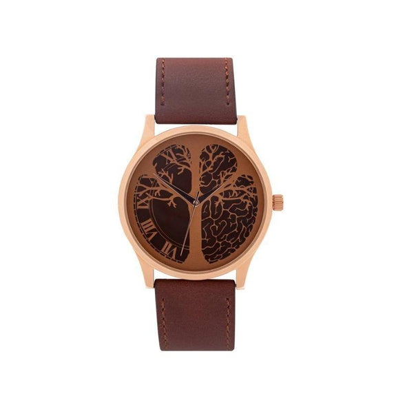 """Timeless"" Time-Peace Watch-Rose Gold / Brown-45mm-"