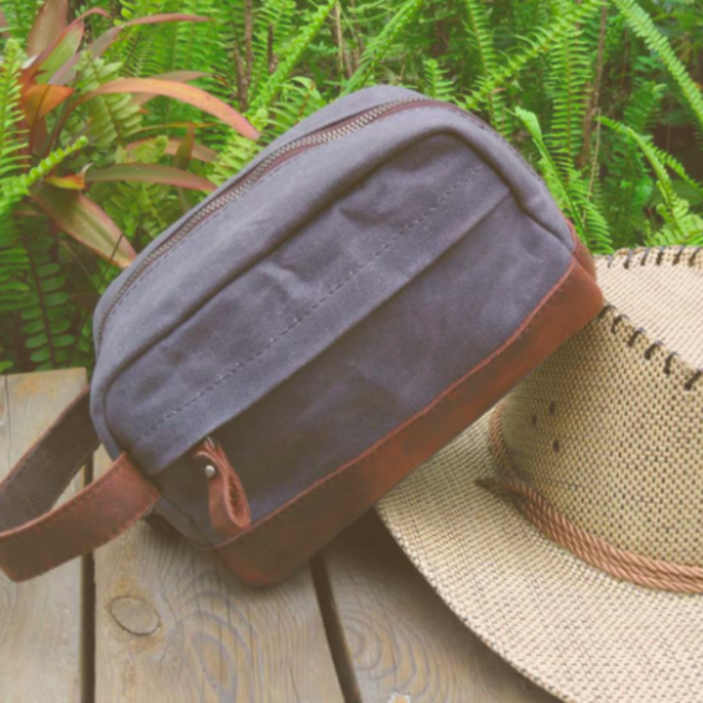 "Classic Canvas Leather Toiletry Bag - ""The Ditty""-Daily Steals"