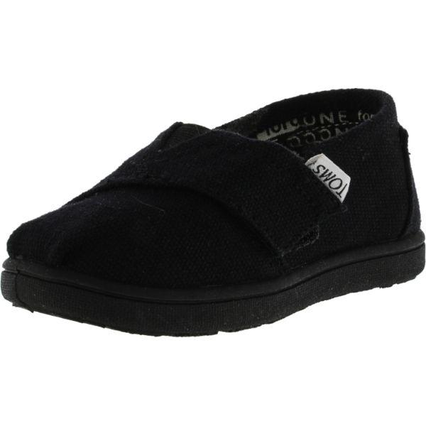 Daily Steals-Toms Boy's Classic Canvas Black Ankle-High Flat Shoe - Size 11-Accessories-