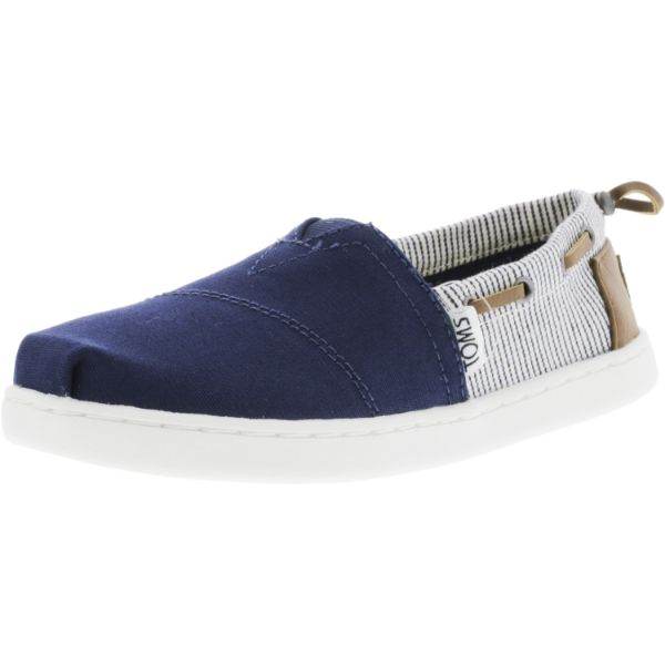 Toms Bimini Canvas Navy Stripes Ankle-High Flat Shoes for Kids-12-Daily Steals