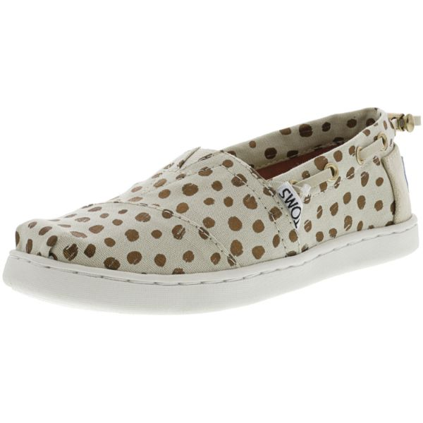 Toms Bimini Canvas Rose Gold Dots Ankle-High Flat Shoes for Kids-1-Daily Steals