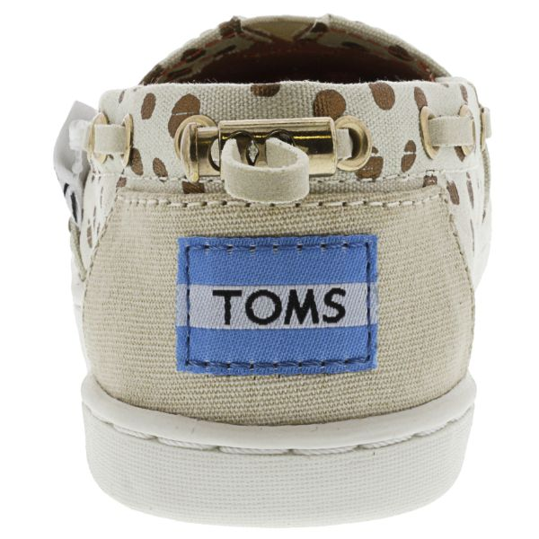 Toms Bimini Canvas Rose Gold Dots Ankle-High Flat Shoes for Kids-Daily Steals