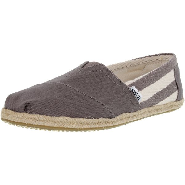 Toms Women's Classic Striped Canvas Dark Grey Stripe University Ankle-High Flat Shoes-11-Daily Steals