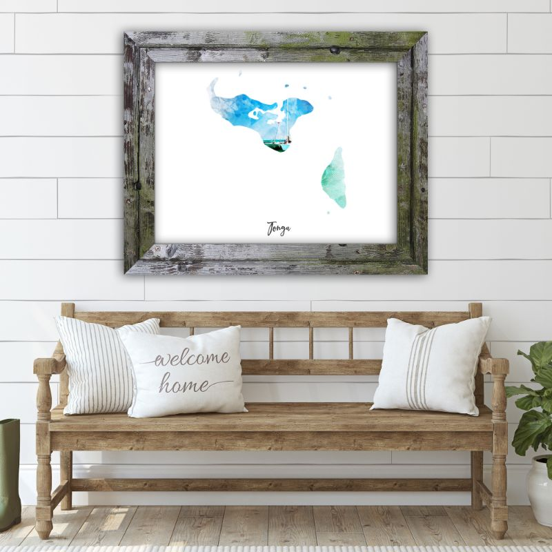 "Tonga Watercolor Map Print - Unframed Art Print-16""x12""-Horizontal/Landscape-Daily Steals"