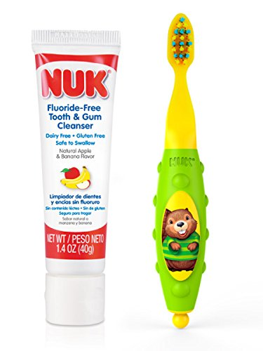 NUK Grins and Giggles Toddler Toothbrush Set - 2 Pack, Colors May Vary